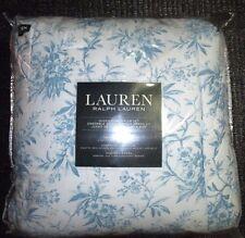 New RALPH LAUREN Queen Size 4 Pc Comforter Set Blue White Floral 2 Sham Bedskirt