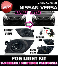 For NISSAN VERSA 12 13 14 4D Fog Light Driving Lamp Kit w/ switch wiring (CLEAR)