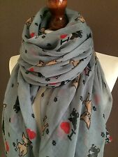 OVERSIZE LADIES SOFT LOVELY DOG PRINT FASHION SCARF*GREY*BRAND NEW 100% VISCOSE