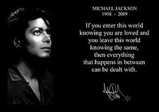MICHAEL JACKSON INSPIRATIONAL  QUOTE  POSTER  (1) WITH PRE PRINTED AUTOGRAPH