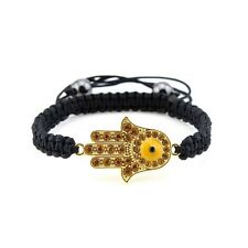 Stunning Yellow Crystal Hamsa Hand / Hand of Fatima Friendship Macrame Bracelet