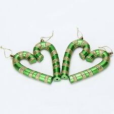 """5.5"""" Glittering Candy Canes Christmas Ornaments Pendants 4 In A Pack Green"""