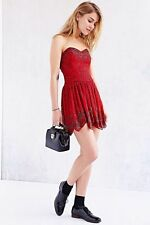 Urban Outfitters Ecote Kimchi Blue Karmin Heartbreak Red Beaded Strapless Dress-
