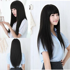 New Vogue Black Long Straight Neat bang Hair Cosplay Party Women's Full Wigs