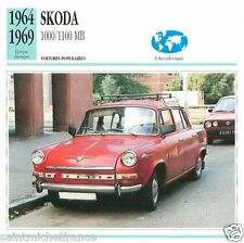 SKODA 1000/1100 MB 1964 1969 CAR VOITURE TCHECOSLAVIE CZECHOSLOVAKIA CARD FICHE