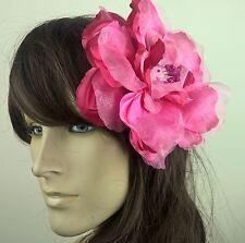 HOT Rosa Raso Fiore Fascinator con modisteria Burlesque Cappello da sposa da sposa RACE