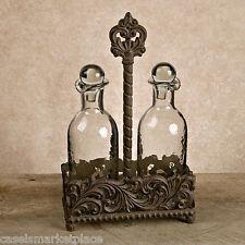 The GG Collection Acanthus Leaf Glass Oil & Vinegar Cruet Set w/ Metal Holder
