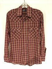 vintage mens burgundy plaid LEVIS western pearl snap shirt sawtooth thin SMALL