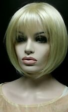 Pale Blonde Pageboy Wig Wispy Light  Bangs, Classic Cap, color 613