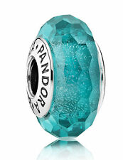 Teal Shimmer Murano Glass 791655--Authentic Pandora Charm Bead