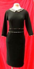 1940s 19540s ww2 rockerbilly PinUp stylish Black  leopard collar dress Marilyn 8