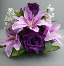 Wedding Table Flower Centrepiece With Cadbury Purple Roses & Lilies