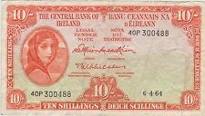 1964 IRELAND P63a TEN SHILLING BANKNOTE IN GOOD FINE OR BETTER CONDITION