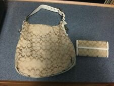 Coach Beige And Gold Hobo Bag With Matching Wallet