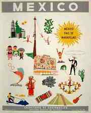 Metal Sign Mexico Travel Pais De Maravillas Mid Century A4 12X8 Aluminium