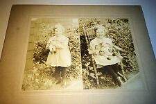 Antique Adorable American Child with Toy Doll! Two Image! Portland Cabinet Photo