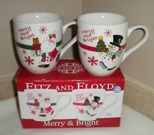 NIB Christmas Fitz and Floyd Merry & Bright Set of 2 Santa & Snowman Mugs/Cups