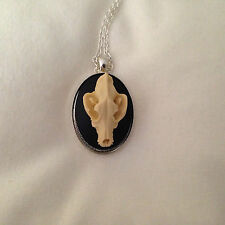 "WOLF Skull Resin Gothic Pendant 24"" SP Necklace FAUX TAXIDERMY"