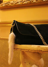 "* Designers Mink Real Fur Tail Tassel Luxury HandBag Charm Key Chain 9"" $179 NWT"
