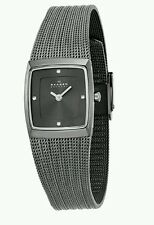 Skagen Women's Slimline Diamond Square Grey Dial Mesh Stainless Steel Watch 380X