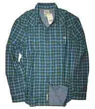 Lucky Brand - Mens XXL - Green Plaid Double Weave Chambray Lined Western Shirt