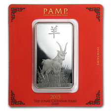 100 gram Silver Bar - Pamp Suisse (Year of the Goat) - SKU #86007