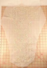 "2 vintage pearl white beaded sequins sleeve appliques 27"" x 17"" flower crown"
