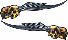 """Motorcycle Harley Gas Tank Graphics Decal  Stickers Skull Flames Wrap 22""""x 6"""""""
