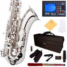 MENDINI SILVER NICKEL PLATED TENOR SAXOPHONE SAX W/ TUNER, CASE, CAREKIT