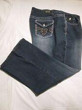 (*-*) EARL JEAN * Womens Stretch Bootcut Blue Jeans * Size 24W * Flap Pockets