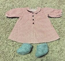 American Girl Doll Kirsten Larson Plaid House Coat Robe and Felted Wool Slippers
