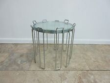 Mid Century Chrome Saporiti Nesting Stack Stacking Pedestal Lamp End Tables