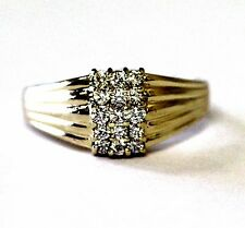 14k yellow gold womens CZ cubic zirconia cluster ring estate antique vintage