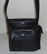 Fossil Black Pebble Leather Organizer Shoulder Bag Purse Handbag