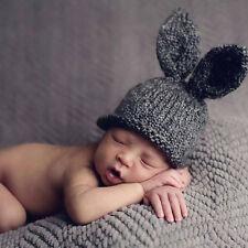 Newborn Infant Baby Girls Boys Crochet Knit Rabbit Ear Hat Photography Prop Caps