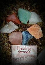 "Rough Healing Stones~Large (1""+) w/ ID Card. Raw Crystal Set Grid Chakra Reiki"