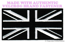 UK BLACK FLAG PATCH UNION JACK Great Britain ENGLAND w/ VELCRO® Brand Fastener