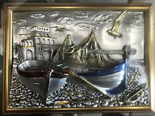 71x58 cm 3 D Mogano Legno Specchio Designer Immagine Cornici Barche & Vista mare