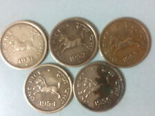 Indian 1 Pice, Old horse coins (5 pieces), for the Years 1951 & 1953