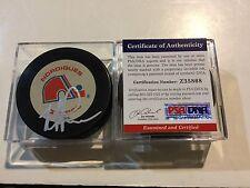 Mike Ricci Signed Quebec Nordiques Hockey Puck PSA DNA COA Autographed a