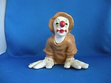 VINTAGE ANDREOLI CLOWN 1979, POLY-RESIN, BROWN OVERALLS & HAT, BUTT IN AIR