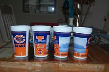 """Chicago Bears 2002 SEASON Drink Cups - Set/ 4 - MISSPELLED """"STADUIM"""" COLLECTIBLE"""
