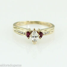 LADY'S 0.45 CT. SOLITAIRE MARQUISE DIAMOND RUBY BAND 14K YELLOW GOLD RING US6.5