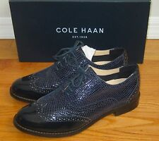 COLE HAAN Skylar Oxford II Blue Snakeskin Patent Leather Wingtip Oxfords Shoes 6