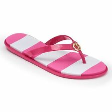 Juicy Couture Striped Jelly Thong Flip-Flops - Women's Size 7-8 Pink/White