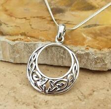 Celtic Design Open Circle 925 Sterling Silver Pendant Necklace Jewellery