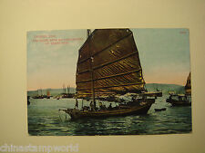 old China postcard,Chinese junk,the same now as thousands of years ago