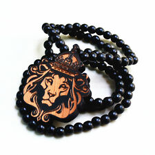 Good Quality HipHop LION KING Pendant Carved Black Wood Beads Necklace 36""