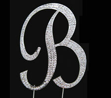 "Large Rhinestone Crystal Monogram Letter ""B""  Wedding Cake Topper  5"" inch high"