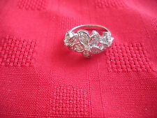 925 Sterling Silver QVC Diamonique CZ 3 Flower Cocktail Ring size 8